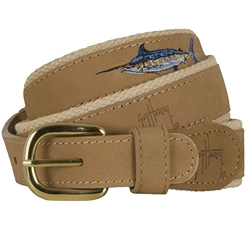 Guy Harvey Leather Belts - Offshore - Size 30 - Khaki