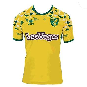 f71a5b2d4 Errea 2018-2019 Norwich City Home Football Soccer T-Shirt  Amazon.co ...