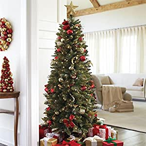 Brylanehome 6' Pre-Decorated Pencil Yorkville Tree (Red Gold,0)