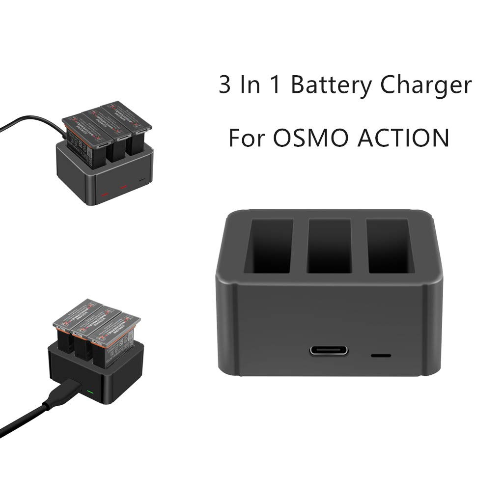 iuchoice  Intelligent 3 In 1 Battery Charger Power Supply For DJI OSMO ACTION 4K Camera