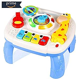 HOMOFY Baby Toys Musical Learning Table Early Education Music Activity Center Multiple Modes Game Table Toys for 1 2 3 4 Years Old Kids Toddler Boys and Girls New Gifts