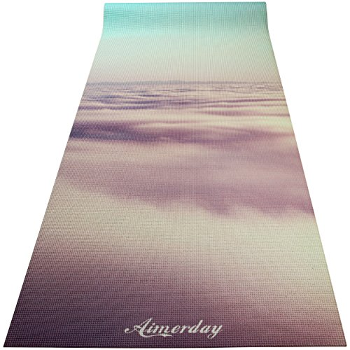 AIMERDAY Premium Print Yoga Mat 72-Inch Long 1/4 Extra Thick High Density Eco-Friendly Non Slip Exercise Mats for Pilates, Fitness, Hot Yoga with Carrying Strap and Travel Bag