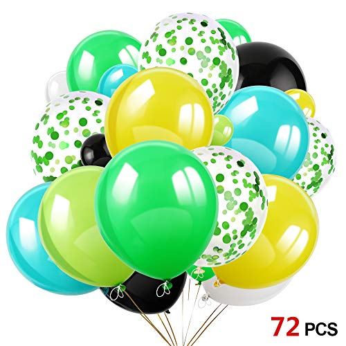 Konsait 70Pcs 12 Inches Green Confetti Balloons Latex Birthday Balloons Helium Balloons for Jungle & Forest Theme Party, Tropical Party, Hawaiian Party, Luau Party, Birthday Party Decorations -