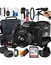 $734 » Canon EOS M50 Mark II Mirrorless Digital Camera with 15-45mm STM Zoom Lens + Platinum Mobile Accessory Bundle Package Includes: SanDisk 64GB Card, Tripod, Case and More (21pc Bundle)