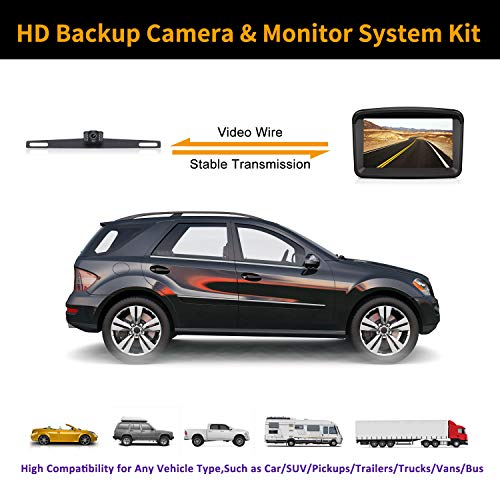 Backup Camera with Monitor License Plate Mounted Digital Reversing observation Camera Night Vision Waterproof Rear View for 5'' LCD Monitor be Used for Safety Driving of Vans,Trucks,Camping Cars,RVs,et by Xroose (Image #1)
