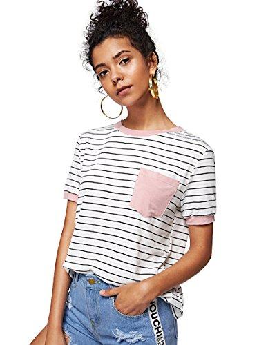(SweatyRocks Women's Basic Striped Short Sleeve Ringer Tee Patch Pocket TShirt Tops Pink M)