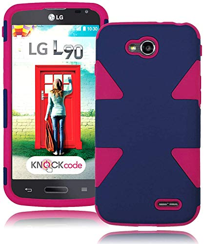 Bastex Deluxe Dynamic Design Hybrid Case for LG Optimus L90 - Hot Pink Soft Silicone Gel Cover Surrounded By a Navy Blue Hard Plastic - A For Case Lg L90