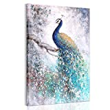 YESURPRISE DIY Modern Printed Canvas Wall Art Painting Picture Home Decor Mural Aestheticism Peacock Peafowl - Unstretched, Sold with Wooden Frame