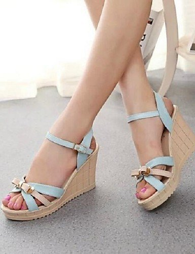 ShangYi Sandaletten für Damen Damenschuhe - Sandalen - Büro / Kleid - Kunstleder - Keilabsatz - Komfort - Blau / Rosa / Mandelfarben Pink