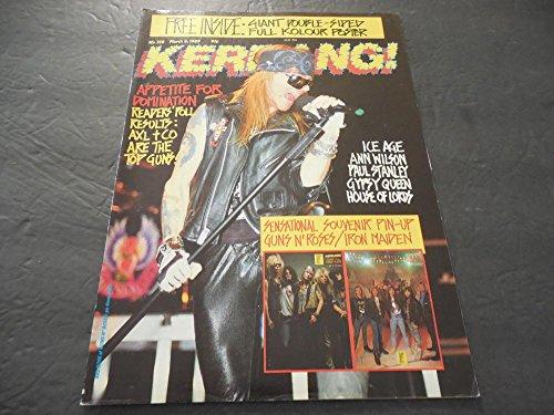 Kerrang Magazine #228 Mar 4 1989, Giant Guns 'N Roses Poster