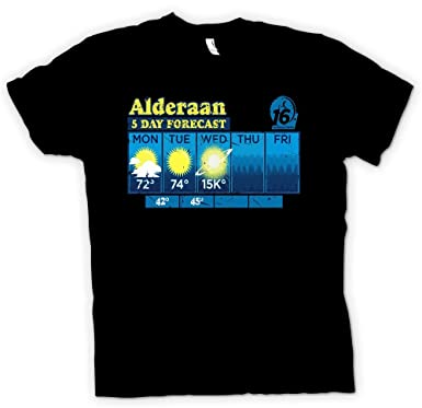 e4dcef211 Womens T Shirt Alderaan 5 Day Weather Forecast - Star Wars Inspired - Black  - Ladies - 16: Amazon.co.uk: Clothing