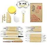 Clay Sculpting Tools Ecooltek 30PCS Wooden Handle Pottery Clay Sculpture Modeling Kit Carving Tool Set for Ceramic Hobby Art Projects Crafts Model