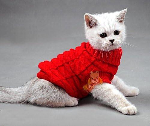 Jersey de cuello alto Mascota Gatos Aran Jersey de punto diseño de Kitty ropa de colores para gato perro Chihuahua: Amazon.es: Productos para mascotas