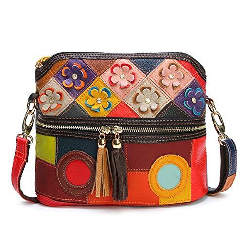 Multicolor Floral Crossbody Bag, OURBAG Fashion Women Leather Shoulder Bag Cute Purse Casual Travel Handbag Colorful Colorful