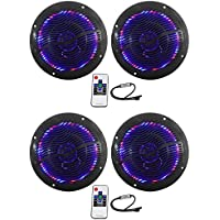 (2) Pairs of Rockville RMC65LB 6.5 2-Way Black Marine Speakers Totaling 1200w With Switchable Multi Color LED and Remote Truly Marine Grade Withstands Salt Spray, Water, and Sunlight