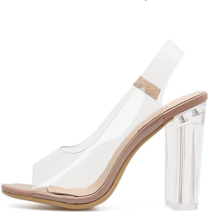 ZHZNVX Transparent Summer sandals women flat with thick with fish mouth bare-color high-heeled sandals