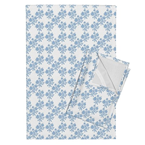 Blue Tea Towels Swedish Rose Trellis in Blueberry Blue by Lilyoake Set of 2 Linen Cotton Tea Towels