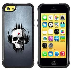 "Hypernova Defender Series TPU protection Cas Case Coque pour Apple iPhone 5C [Diseño del cráneo de Música""]"