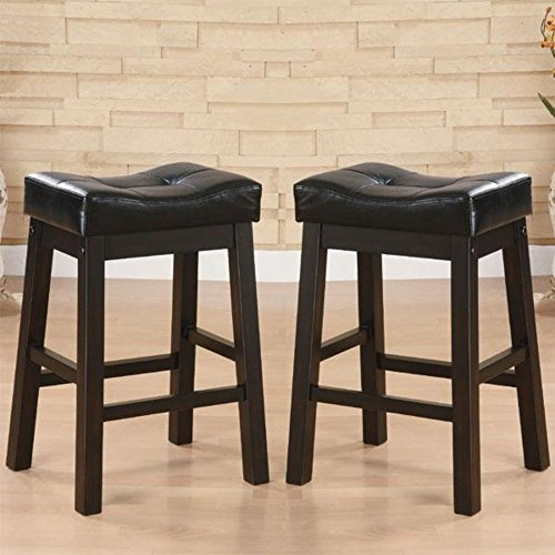 Upholstered Wicker Bar Stool - Modern Bicast Leather Tufted Saddle Counter Height Black Wooden Stools (Set of 2)