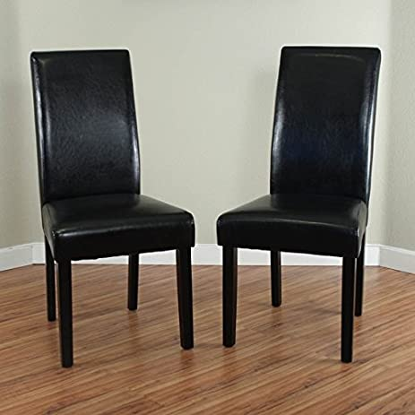 Villa Faux Leather Dining Chairs Padded Seats, Fire  Retardant Foam, Soft  Upholstered,