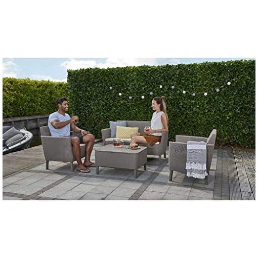 Keter Salemo Lounge Set con Divano 2 posti, Cappuccino