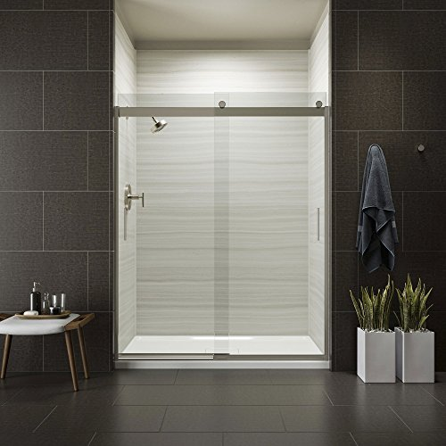 (KOHLER K-706009-L-MX Levity Bypass Shower Door with Handle and 1/4-Inch Crystal Clear Glass in Matte Nickel )