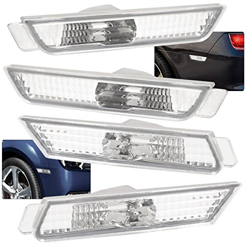 Chrome Camaro Rear Bumper (For Chevy Chevrolet Camaro Front Rear Left Right Bumper Parking Side Marker Chrome Housing Clear)