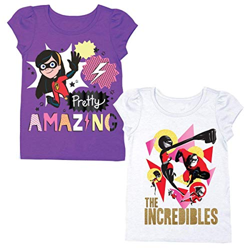 Disney Pixar The Incredibles Shirt – 2 Pack of Incredibles Tees – Mr Incredible, Jack Jack, and Elastigirl (Purple/White, 2T) (Toddler Purple Character T-shirt)