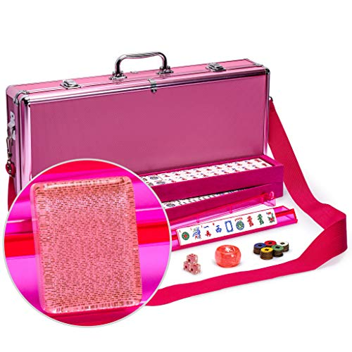 Yellow Mountain Imports American Mahjong Set, Pink Sparkles - Pink Aluminum Case and Pastel Scoring Coins - 4 All-on-One Racks with Pushers (Chinese Mah Jongg Coins)