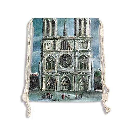 (Unisex Drawstring Backpacks Bags, Notre Dame De Paris Sports Gym String Bag for Men And Women)
