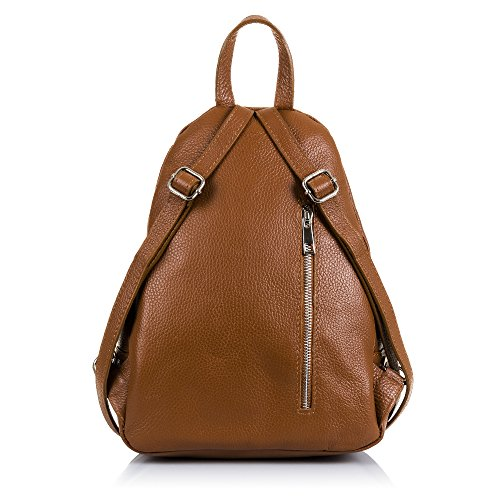 FIRENZE ARTEGIANI.Mochila de mujer casual piel auténtica.Mochila bolso cuero genuino.Piel pamelato,solapa cierre iman.DAY PACK casual. MADE IN ITALY. VERA PELLE ITALIANA. 24x33x15 cm. Color: LEATHER