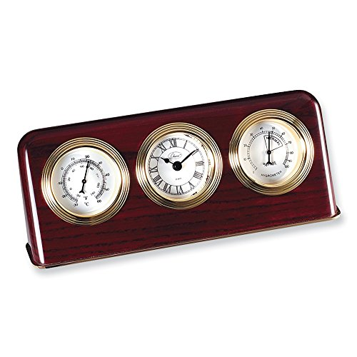 Jewels By Lux Mahogany Finish Desk Top Weather Station Clock