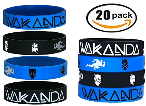 20 pcs Wakanda Party Favors Wristband/Size Adult and Kids. (Black Panther, Kids) by BlueBell.