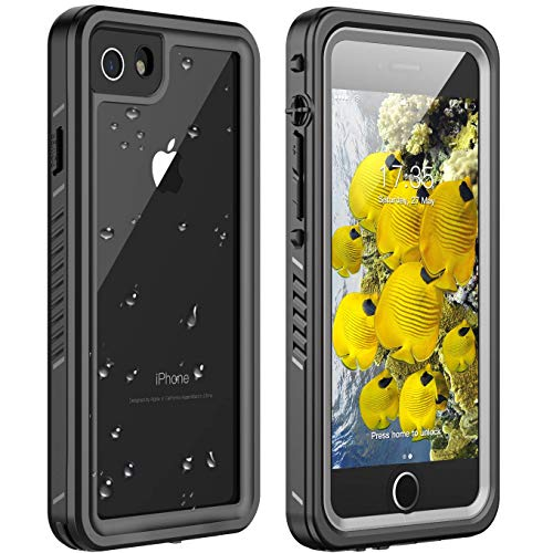 iPhone 7 Waterproof Case,iPhone 8 Waterproof Case. Huakay Full Body 360 Protective Shockproof Dirtproof Sandproof IP68 Phone Case for iPhone 7/iPhone 8 (4.7') (Black/Clear)