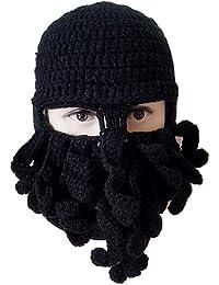 Wig Beard Hats Handmade Knit Warm Winter Caps Ski Funny Mask Beanie for Men  Women fa9135b63f9b