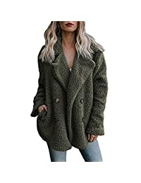 Women's Winter Double Breasted Pea Coat Thick Faux Fur Parka Coats Jackets Overcat