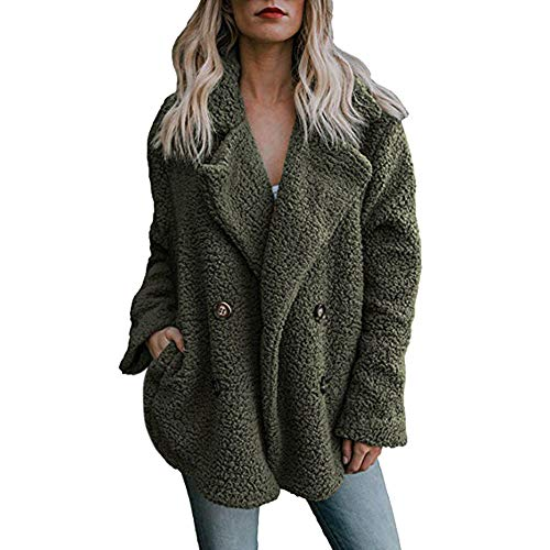 Overcoat for Women Corriee Warm Faux Fur Button Solid Sweaters Coat Womens Autumn Winter Casual - Misses Acrylic Sweater