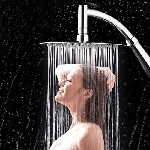 YJYdada High Turbo Pressure Shower Head Bathroom Hand Large Rainfall Water Saving Filter (Silver)