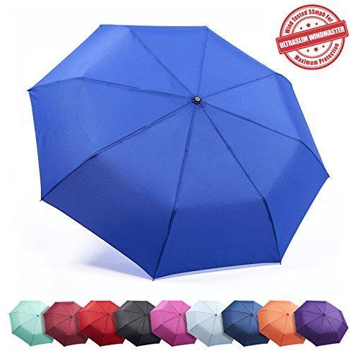 Frostfire Unbreakable Travel Umbrella Wind Tested 55MPH, Beware of Knockoffs, Innovative & Patent Pending, Auto Open Close, Won't Break If Inverted, Durability Tested 5000 Times (A2 Royal Blue)