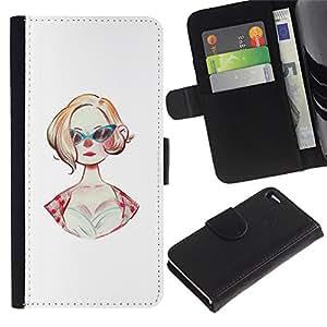 UPPERHAND Imagen de Estilo Cuero billetera Ranura Tarjeta Funda Cover Case Voltear TPU Carcasas Protectora Para Apple Iphone 4 / 4S - gafas de sol 50s peinado de moda pin up vestido