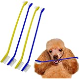 Pet Toothbrush | 4 pcs Gentle Dual Headed Cleaner Tough Dental Care Hygiene Pet Grooming Soft Bristle Toothbrush Cat Dog Puppy Big Small Teeth | Blue Yellow | 995