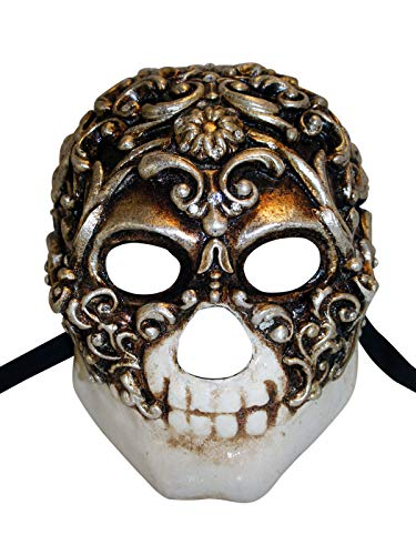 Venetian Full Face Mask Teschio Baroque for Men (Silver)