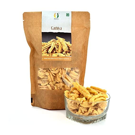 Matratva Premium Ghatiya (Ganthiya) namkeen Snacks Made by Organic Ingredients |250 GMS