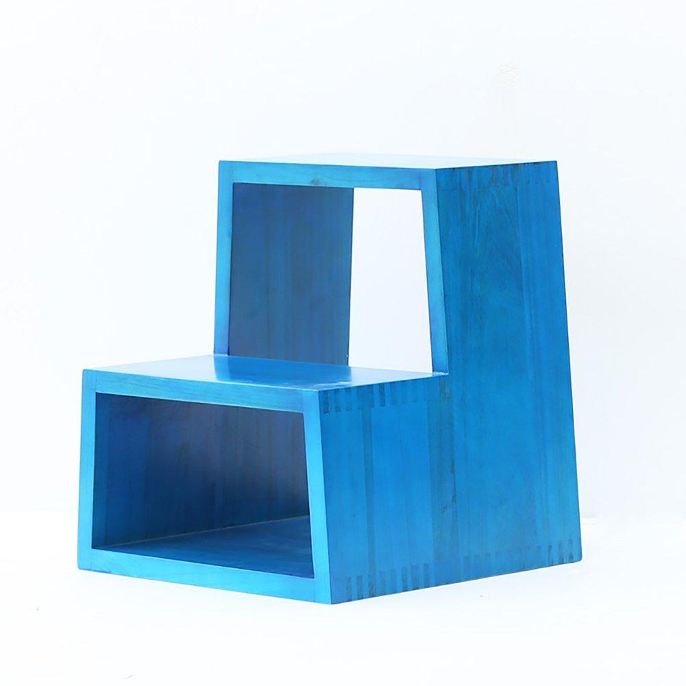 WSSF- ソリッドウッド2ステップスツール子供用スツールシューズベンチキッチン用はしご低スツール階段の戸口踏み台スツール (色 : Blue) B07DL64D7Q Blue Blue