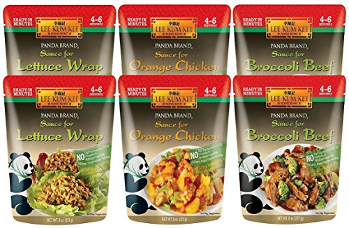 Panda Brand Ready In Minutes Asian Stir Fry Sauce 3 Flavor Variety Bundle: (2) Broccoli Beef, (2) Orange Chicken, and (2) Lettuce Wrap, 8 Oz. Ea. (6 Pouches Total)