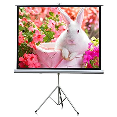 """Projector Screen, Auledio Portable 100"""" Diagonal 16:9 HD Manual Pull Down Video Projection Screens with Tripod Stand - Suitable for HDTV / Sports / Movies / Presentations"""
