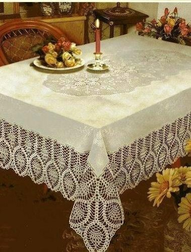 Better Home New Crochet Vinyl Lace Tablecloth 60 Wide X