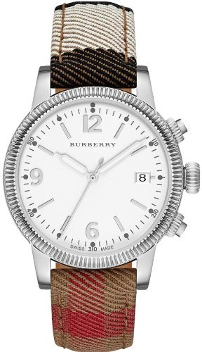 Burberry Silver Dial Stainless Steel Textile Quartz Ladies Watch BU7824