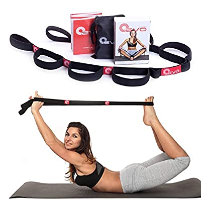 Yoga EVO Elastic Stretching Strap with Loops + eBook & Video Exercises & Carrying Bag