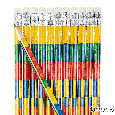 Fun Express Colored Block Brick Party Favor Pencils - 24 Piece (Party Pencil)